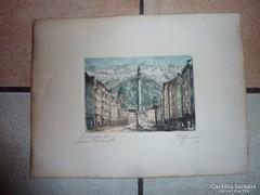 Innsbruck, látkép hegyekkel, régi színezett rézkarc, jelzett