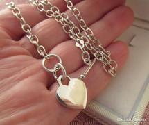 Tiffany fazonú ezüst nyaklánc - szív forma medál résszel