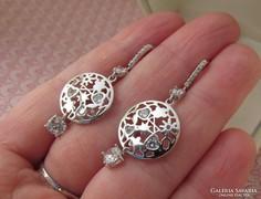 Ezüst fülbevaló cirkónia kövekkel beakasztós - dekoratív