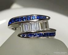 Ezüst gyűrű zafír és topáz kövekkel