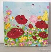 Virágos-modern kis festmény 7