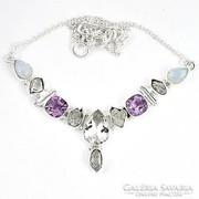 Herkimer gyémánt,Ametiszt és Holkő,ezüst Colié