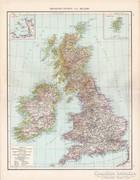Nagy - Britannia és Írország térkép 1881, német, eredeti