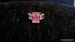 Meseszép 925-ös ezüst gyűrű rózsaszín topázzal