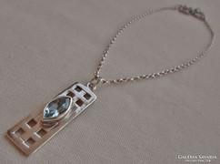 Csodás antik akvamarinköves ezüstnyaklánc