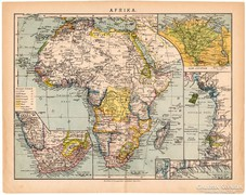 Afrika térkép 1892, eredeti, antik, magyar nyelvű, Athenaeum