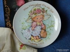 Anyák napi porcelán dísztányér, falitányér 1982