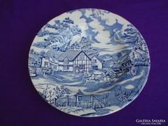 English Style kék jelenetes porcelán mély tányér