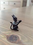 Antik miniatűr réz festett ördög figura