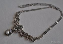 Csodás antik valódi markazitos ezüstnyakék