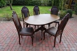 Chippendále étkező asztal 5 székkel