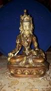 Buddha szobor: Dordzse Szempa aranyozott, színes áldott