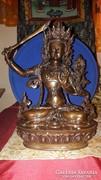 Buddha szobor: Nagyméretű Manjushri réz, 33 cm-es, Áldott