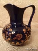 Zafírkék-arany díszítéssel porcelán tejszín kiöntő