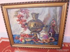 Szignált régi orosz olaj vászon:Csendélet szamovárral