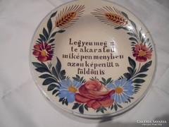 Miatyánkos apátfalvi tányér