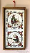 Porcelán falidísz 16.5 x 8.5 cm