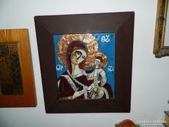 Béni Mária tűzzománc kép  Szűz Mária Jézussal