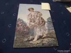 Antik porcelánra festett kép 31,5 x 22,5 cm