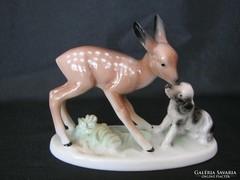 Unterweissbach porcelán őzike és kutya