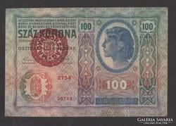 100 korona 1912.  (Magyarország felülbélyegzés)!!!