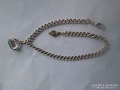 Viktoriánus ezüst zsebóra lánc korabeli hegyi kristájal 40 c