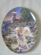 Porcelán falitányér (angyal)