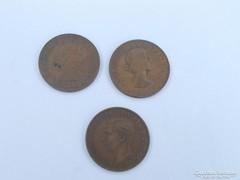 3 darab különböző réz 1 penny-s érme