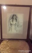 KUNFFY LAJOS /1869-1962/ Fiatal lány grafika