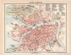 Szentpétervár térkép 1898, antik, eredeti, Oroszország