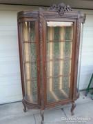 Csodálatos neobarokk 3 ajtós faragott  vitrin