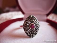 Pazar antik ezüst rubin gyűrű