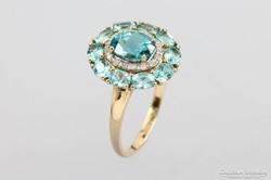Turmalin és brill drágaköves arany gyűrű