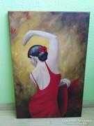 Flamenco táncosnő festmény.