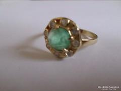 Smaragd briliáns köves arany gyűrű