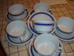 Kék csíkos teás csésze 6 darab