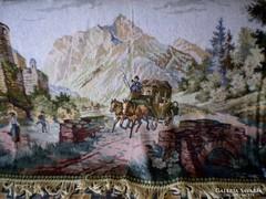 Antik szőttes jelenetes faliszőnyeg, falikárpit 2 db