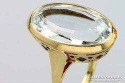 Hatalmas eredeti akvamarin köves art deco arany gyűrű