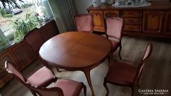 Chippendél  barokk  étkező ,kinyitható asztal és 6 szék