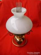 Antik art deco sárga és vörös réz kombinált petróleum lámpa