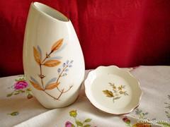 Aquincumi csipkebogyós porcelán váza 10 cm és tálka