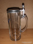 Ón fedelű üveg söröskorsó 0,5 liter (8/d)
