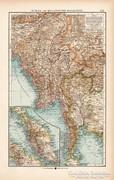 Burma és Maláj - félsziget térkép 1904, eredeti