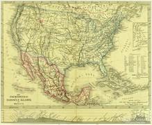 0L611 Antik acélmetszet térkép ÉSZAKAMERIKA MEXIKÓ