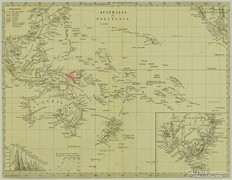 0L612 Antik acélmetszet térkép AUSZTRÁLIA