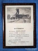 Bányász vájár elismerő szakmai okirat 1948.