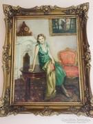 Nagy Vilmos (1874-1953) Hölgy enteriőrben