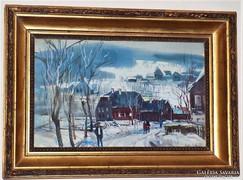 Xantus Gyula (1919-1993) Téli táj 1960 festménye 63x46cm