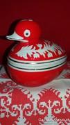 Hollóházi dombor mintás porcelán kacsa Art deco bonbonier