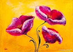 Lila tulipánok Festmény 70x50